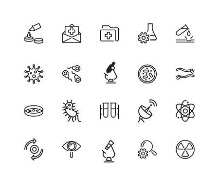 Medical test icons. Set of twenty line icons. Insurance, bacteria, laboratory. Medical research concept. illustration can be used for topics like healthcare, medicine, microbiology Stockfoto