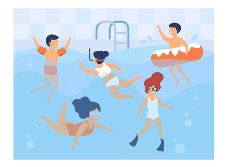 Happy kids swimming in pool. Children in swimwear enjoying bathing in water, diving, floating with inflatable ring. Can be used for swimming class, vacation, summer activity with friends concept