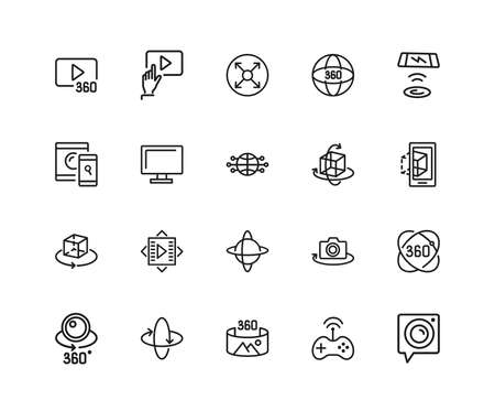 VR Device icons. Set of twenty line icons. Panoramic camera, screen, gaming. Virtual reality concept. illustration can be used for topics like modern technology, photography, panorama