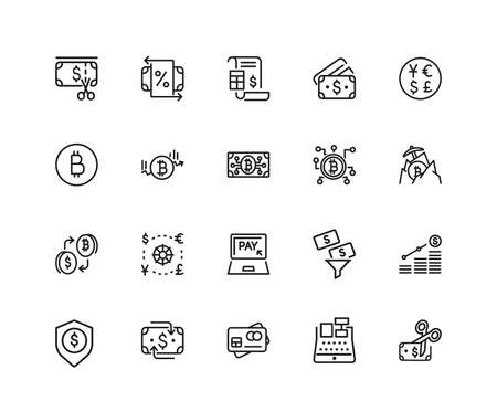 Finance icons. Set of twenty line icons. Bitcoin, currency, payment. Finance concept. illustration can be used for topics like banking, money, saving