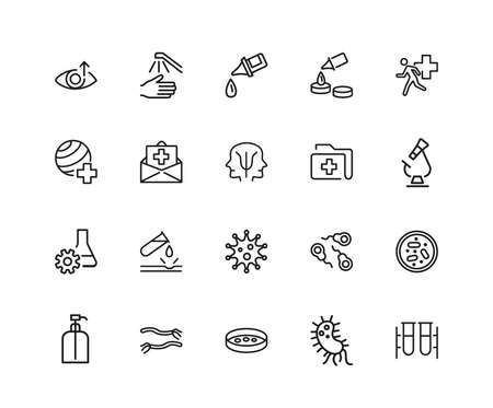 Medical laboratory icons. Set of twenty line icons. Urgent help, test, pill. Medical research concept. illustration can be used for topics like healthcare, medicine, microbiology. Stockfoto