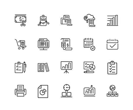 Documents icons. Set of twenty line icons. Invoice, diagram, report. Document work concept. illustration can be used for topics like analysis, statistics, research.