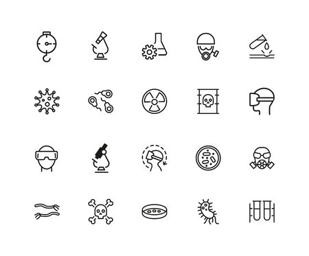 Lab icons. Set of twenty line icons. Radiation sign, poison, microscope. Science concept. illustration can be used for topics like biology, chemistry