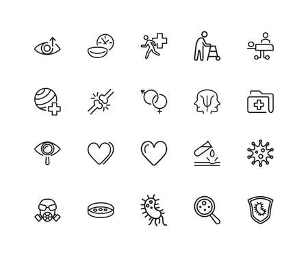 Medical research icons. Set of twenty line icons. Urgent help, heart decease, virus. Medical research concept. illustration can be used for topics like decease prevention, medication, health care.