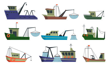Fishermen boats and trawlers set. Ships in sea with crane for lifting net with fish. Vector illustration for commercial fishing, food industry, transportation concept