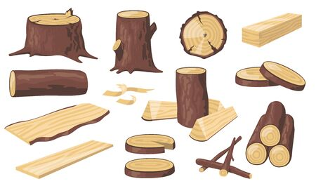 Various wood logs and trunks flat icon set. Cartoon wooden materials, lumber, planks and timber isolated vector illustration collection. Forest and construction concept