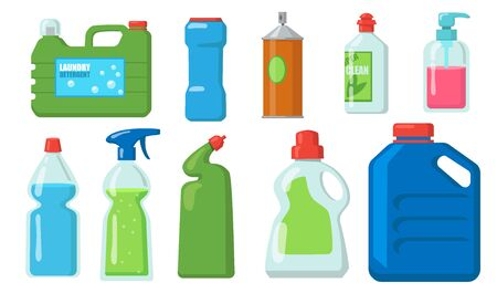 Bleach bottles set. Plastic containers of detergents, liquid soap, chemical disinfectant. Vector illustrations for laundry, household, cleaning, packaging concept