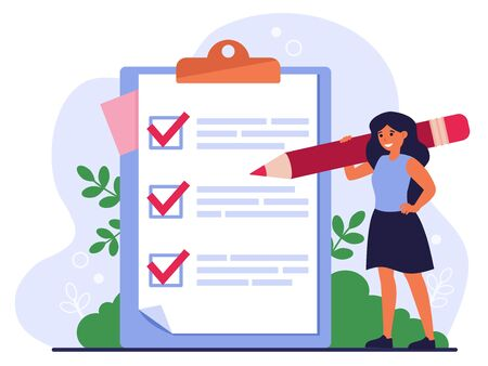 Checklist or survey concept. Woman with pencil writing down task list, filling out survey or application on notepad, marking checkboxes. Flat vector illustration for business goals topics