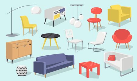 Home interior elements set. Chair, table, couch, lamp, armchairs isolated on pale blue background. Vector illustrations for furniture, living room, modern house concept
