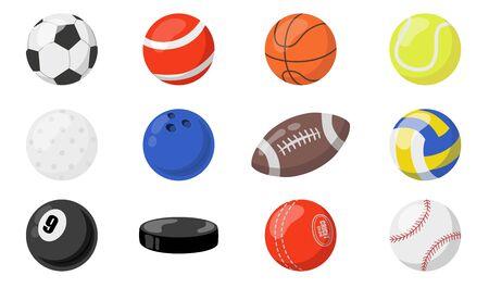 Balls for sports set. Hockey puck, soccer, baseball, basketball, football, handball, rugby balls. Vector illustrations for team game sport activities, equipment concept 向量圖像