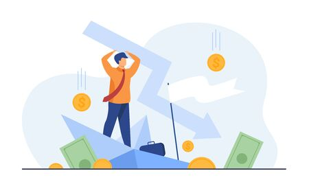 Cartoon man holding arrow falling down isolated flat vector illustration. Tiny businessman during business failure and company problem. Bankruptcy and financial crisis concept Stock Illustratie