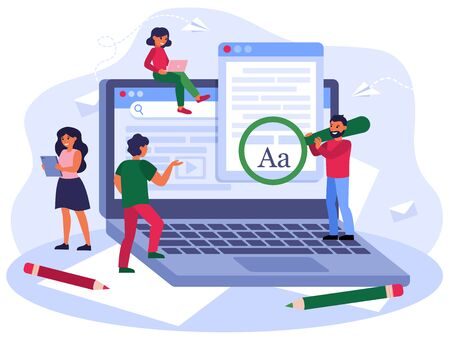 Blogging and seo marketing concept. Authors or journalists writing articles. Freelance writers with computers creating online content. Vector illustration for education or journalism topics
