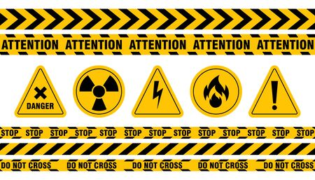 Various danger ribbon and sign set. Attention, danger, high voltage, radiation, biohazard, caution and warning vector illustration collection. Accident and construction concept