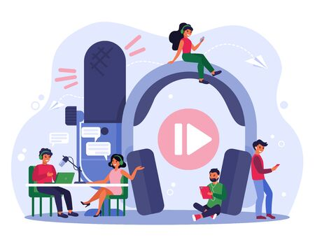 Radio broadcasting concept. Happy radio host with microphone interviewing celebrity woman in studio. People with headset listening to radio podcast