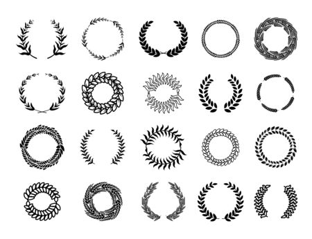 Various Greek round branch wreathes set. Laurel leafs award, olive winner emblem and floral heraldry frames vector illustration collection. Achievement and certificate decoration concept