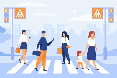 Cartoon pedestrians walking through crosswalk isolated flat vector illustration. People crossing avenue road. Modern lifestyle, traffic and cityscape concept Иллюстрация