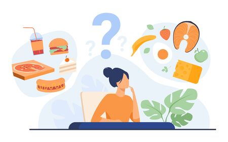 Cartoon woman choosing between healthy meal and unhealthy food isolated flat vector illustration. Junk vs good diet choice. Lifestyle and nutrition concept