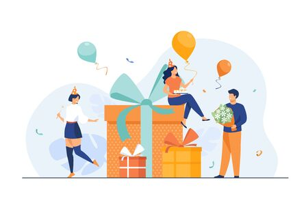 Cartoon friends celebrating birthday with balloons and gifts isolated flat vector illustration. Happy characters with present boxes at Christmas party. Celebration and event concept Illustration