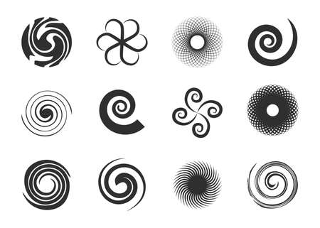 Circular swirls set. Twisted spiral circles, black various whirlpool, speed twirls, abstract graphic round shapes with motion effects. Can be used for psychedelic effect, circular movement topics