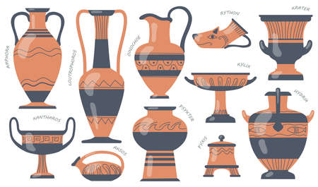 Greek pottery jugs set. Urns, amphora, tall vases with ancient ornaments, old jugs and pots for oil. Vector illustrations for earthenware, traditional culture, antique art concepts