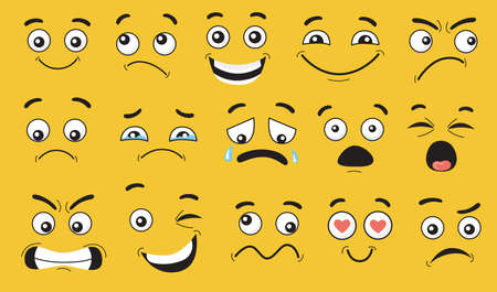 Comic face expressions set. Smiling, pensive, happy, crying, shocked, scared, angry cartoon character faces, grimaces with eyes and mouth. Vector illustrations for emotions and feelings concept