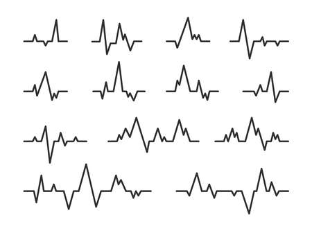 Heart beat diagram lines set. Pulse rate monitor, seismic waves during earthquake, ekg graph. Can be used for medical test, cardio monitor, cardiac rhythm concept