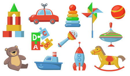 Children toys set. Colorful plastic submarine, car, spaceship, teddy bear, puzzle constructor, rattle ball. Isolated vector illustration for childhood, toddler age, baby care concepts