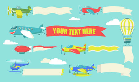 Planes with flying banners set. Airplanes, biplane and helicopter in sky with advertisement text on ribbons and flags. Cartoon vector illustration for advertising or transport concept