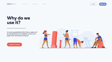People in fitness club. Men and women training bodies, weight lifting, stretching muscles in gym. illustration for sport, exercising, active lifestyle concept 矢量图像