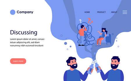 Male friends discussing relationship problems and drinking beer. Bearded men toasting bottles flat illustration. Male break concept for banner, website design or landing web page Ilustração