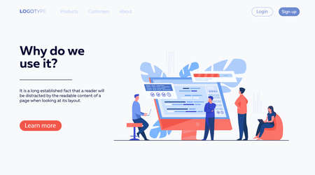 Software developers coding on computer with script. Coding, engineering, interface design flat vector illustration. Programming concept for banner, website design or landing web page