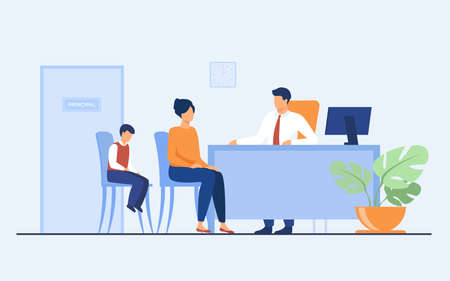 Children behavior problems concept. Mom and son visiting school principal office. Pupil feeling guilty while his mother talking to headmaster. Illustration for family troubles or education topics