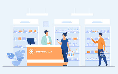 Pharmacy or medical shop concept. People buying medication in drugstore, consulting pharmacist at cash register, choosing drugs at showcase. Vector illustration for pharmaceuticals, healthcare topics