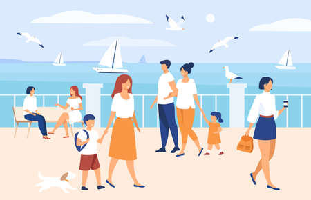 People walking on seaside quay. Tourist characters an cute couple with kids admiring boats in sea and seagulls. Flat illustration for seaside, summer vacation at ocean concept Vettoriali
