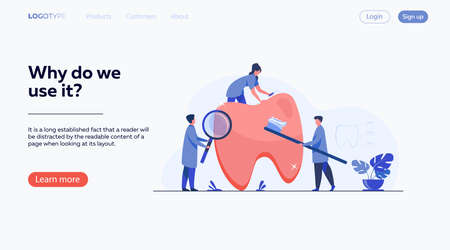 Team of dentists taking care of teeth. Small doctors examining, treating, cleaning, brushing big tooth. Vector illustration for cavity, caries, dental care, stomatology concept