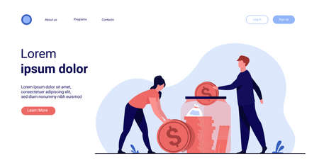 Family couple saving money. Man and woman inserting cash into glass jar. Vector illustration for finance, deposit, economy, investment, banking, concept Archivio Fotografico - 151060646