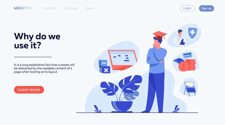 Male student choosing program in college. Young man in graduation cap thinking over future occupation. Vector illustration for opportunities, career advisor, choice concept Vectores