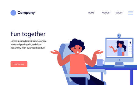 Couple arguing during online video chat. Upset people, call, shrugging, conflict flat vector illustration. Conflict, relationship, communication concept for banner, website design or landing web page