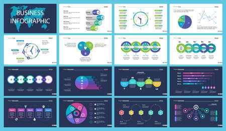 Business inforgraphic design set for management concept. Can be used for business project, annual report, web design. Process chart, option chart, scatter plot, pie chart, flowchart, donut diagram Stock Photo