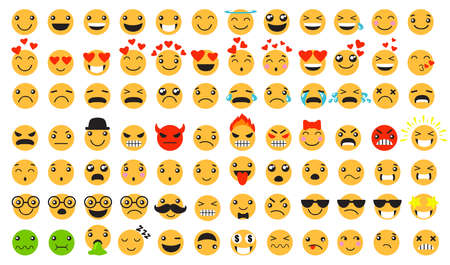 Sad and happy emoticons set. Smiling, laughing, crying, angry, furious, unhappy, smart cartoon yellow faces. Can be used for emotion expressions, online chats, feeling concept