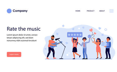 Audience rating rock singer at concert. Followers enjoying music in nightclub flat vector illustration. Feedback and social networking concept for banner, website design or landing web page
