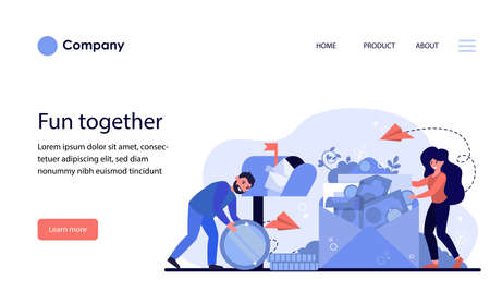 Man and woman receiving money order. People opening mailbox and envelope with banknotes flat vector illustration. Money transfer concept for banner, website design or landing web page Archivio Fotografico - 151061086