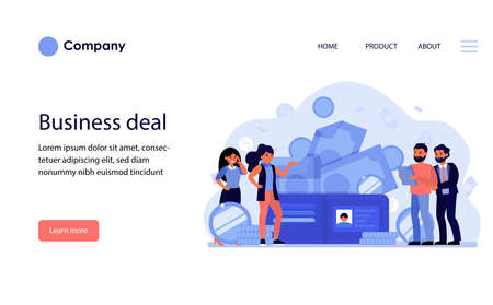 Business people discussing deal and money. Cash, payment, buying, partners flat vector illustration. Business, finance, communication concept for banner, website design or landing web page Archivio Fotografico - 151061090