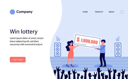 Lottery prize winner. Happy cheerful man and woman holding big bank check flat vector illustration. Winning money, luck, grant concept for banner, website design or landing web page Archivio Fotografico - 151061096