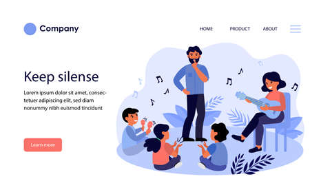 Father asking kids to keep silence. Playing guitar, maracas, fun flat vector illustration. Family, music concept for banner, website design or landing web page 일러스트