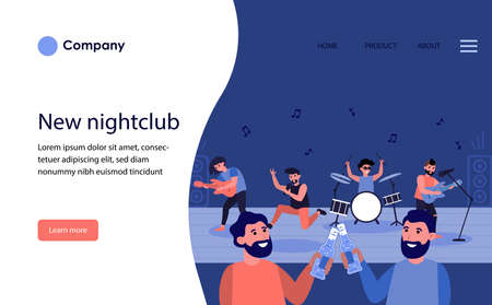 Male friends drinking beer in nightclub. Bearded men toasting bottles at live concert flat vector illustration. Male leisure concept for banner, website design or landing web page