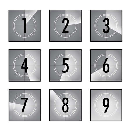 Film countdown set. Square counters with numbers in circles, vintage intro of movie, retro camera or projector timer. Can be used for television, video, cinematography, old movie concepts Vecteurs