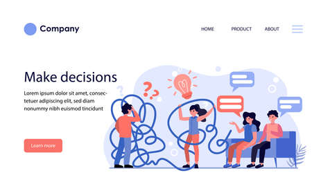 Man and woman having problems while making decisions. People discussing problems and ideas flat vector illustration. Solution concept for banner, website design or landing web page
