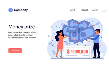Cheerful couple winning money prize. Lottery, grant, profit flat vector illustration. Celebration, wealth, financial success concept for banner, website design or landing web page Archivio Fotografico - 151057045