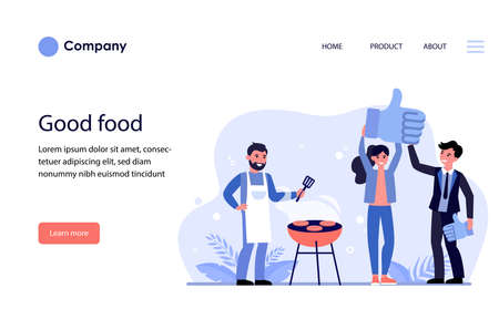 Man and woman liking barbeque restaurant. Chef grilling meat and people showing like sign flat vector illustration. Barbeque concept for banner, website design or landing web page 일러스트